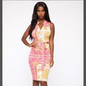 Fashion Nova Sexy Pink Gold Print Midi Dress XS